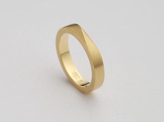 Man Wedding Band Twisted Gold Ring Male Wedding Ring
