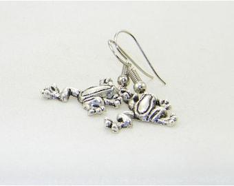 Antique silver frog charm dangle earrings, Frog jewelry, Amphibians earrings, Pet, Brides, Mother's Day, Gift for her, Whimsical Jewelry