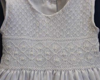 Christening or First Communion dress with delicatelly hand smocked bodice