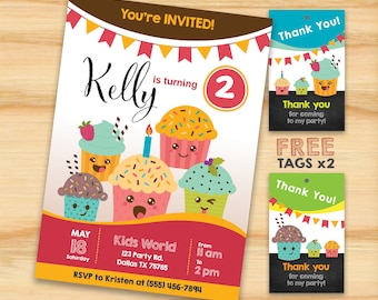 Cupcake Invitation, Cupcakes Birthday, Party for Kids