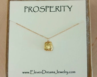 Back in stock! PROSPERITY Gold Nugget necklace. Wealth. Dainty gold layering necklace. Jewelry with meaning. Message jewelry. Pyrite. Brides