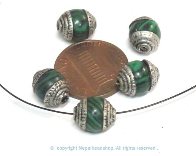 4 Beads - Tibetan silver tone capped small size green synthetic malachite gemstone beads from Nepal 8-9 mm thick x 9 -11 mm long - BD976A