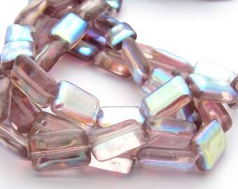 Light Amethyst AB 8x12mm Emerald Cut Rectangle Czech Glass Beads 15pc #3144