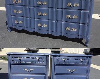SAMPLE: French Provincial Bedroom Set, dark navy blue, dresser and side tables