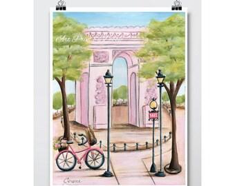 "Paris Bedroom Decor, Pink Arc de Triomphe Paris Wall Art, Paris Themed Girl Baby Shower Gift Idea, Nursery Wall Art, 6 sizes 5x7 To 24 x 36"""