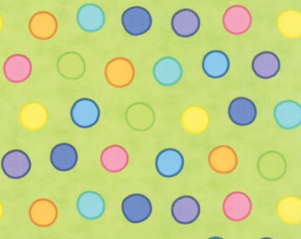 "Moda Dot Dot Dash Bubbles Dots 22262-15 in Green Multi by Me & My Sister Designs 12"" Remnant"