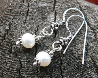 Simply Pearl and Sterling Earrings - Solid Sterling Silver and Freshwater Pearls - Bali Style Earwire - Classic and Beautiful