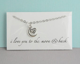 Silver crescent moon necklace / I love you to the moon and back / Heart with moon necklace