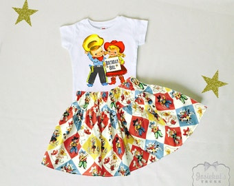 Cowgirl Birthday Skirt - Retro Western Skirt Set - Horse Party Skirt - Cowgirl Party 6/12 month to 12 - Vintage Cowboy Party - Red Blue