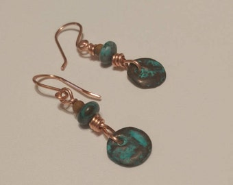 Aged copper earrings and regular copper with magnesite rondalles