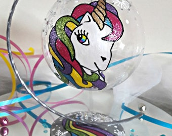 Unicorn bauble. Handpainted unicorn bauble, personalised christmas decoration, baby's first christmas, girly christmas gift