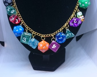 Dice Necklace.  Dice Jewellery.  Role-playing gift. RPG gift.  RPG jewelry