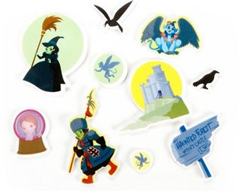 SCRAPBOOKING - CRAFT STICKERS / Wizard of Oz / Wicked Witch Castle - Monkies - Dorothy / 69 Foamies