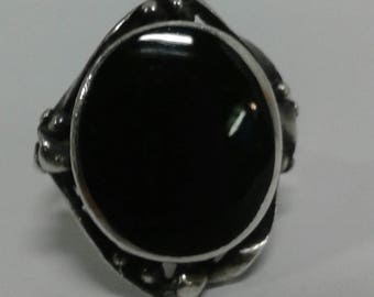 Black Onyx Native American Sterling Silver Navajo Indian ring
