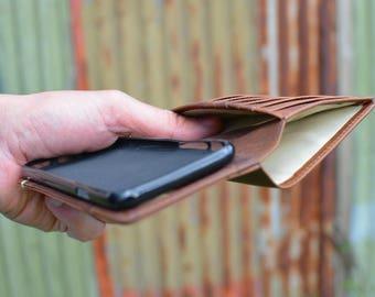 Handmade iPhone X Case Genuine Rustic Nubuck Real Leather Dark Brown by Ebb Flow