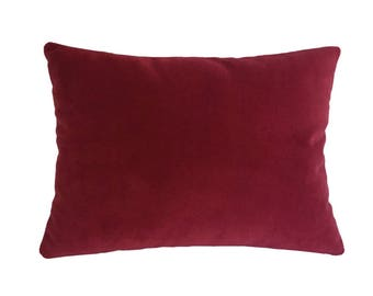 Red Velvet Suede Decorative Throw Pillow Cover / Pillow Case / Cushion Cover / 12x16""