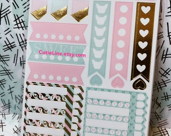 Pink and Mint Plan Stickers by Recollections - 110pc/pack - Gold Foiled Accents/Eyelash/Sweet Girly Elements
