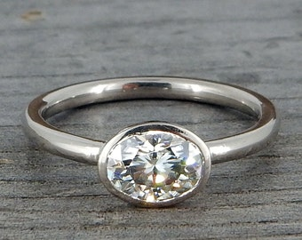 Oval Moissanite Engagement Ring with Recycled 18k Palladium White Gold, Made to Order - Ethical, Conflict-Free, Eco-Friendly, Made to Order