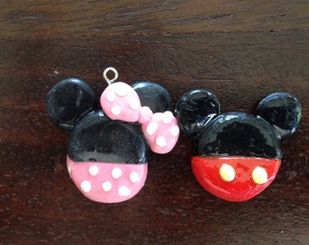 Micky and Minnie Mouse Clay Charms
