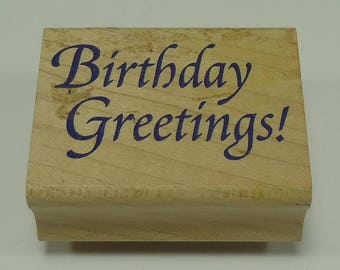 Birthday Greetings Wood Mounted Rubber Stamp By Stampcraft 440801 Classic Birthday