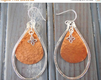 ON SALE Boho Mixed Metal Teardrop Earrings - Hammered Earrings - Hammered Wire - Big Earrings - Copper and Silver - Sterling Silver - Hippie