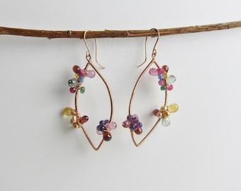 Sapphire, Green Topaz, Pink Topaz and Garnet 14K Rose Gold Filled Handmade Earrings