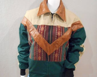 Canvas and Leather Work Jacket;Vintage;tribal print;size small mens