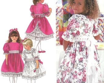 Simplicity 8857 Sewing Pattern for Childs Short Sleeve Dress and Eyelet Ruffle Petticoat Uncut