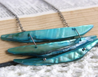 Turquoise Shell Necklace -- Layered Blue Beaded Pendant -- Black Chain -- Surfer Jewelry
