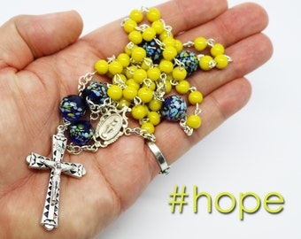 Sale--Handmade Rosary--Yellow Blue--Catholic--Prayer Beads--Inspirational--One of a Kind--Hope--Vintage--European Glass Beads--Faith--Pray