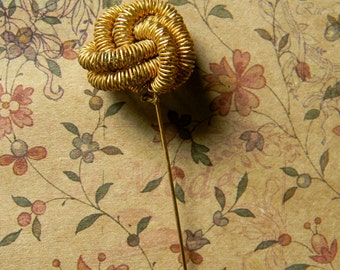 Vintage Gold-Plated Wire Wrapped Knot Hatpin. Fun Millinery Embellishment. Great for Victorian Lady's Costume Accent and Steampunk Cosplay!