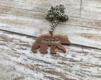 Mama bear hand stamped necklace