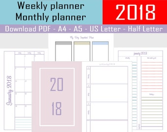 2018 Planner Printable, Agenda 2018, Weekly Planner, Filofax A5 Planner Pages, Monthly Calendar, Student Planner, Yearly Diary Half Size