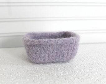 Small Lavender Wool Basket, Knit Felt Storage Basket, Boiled Wool Small Storage Basket, Lilac Wool Felt Storage, Square Felted Wool Bowl