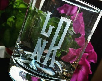 Hand Engraved Monogrammed Personalized Whiskey Rocks Glass
