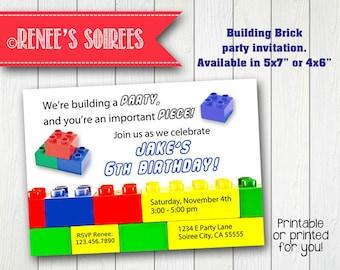 BUILDING BRICK Invitation - Boy or Girl - Printable Birthday Invite - Customizable - Primary Colors