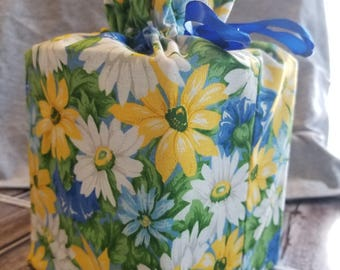 Homemade daisy design fabric tissue box cover
