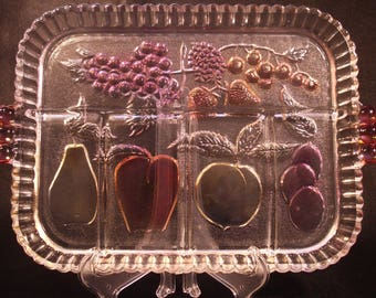 Indiana Glass Company Fruit Tray - Clear with Colored Fruit