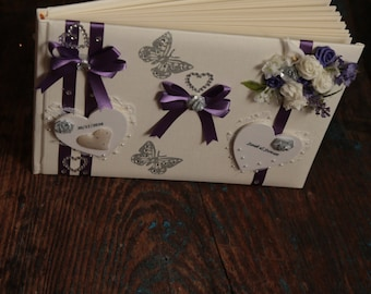 Wedding Guestbook - Personalised & Hand Decorated - With Names / Date - Purple (All Colours Available)