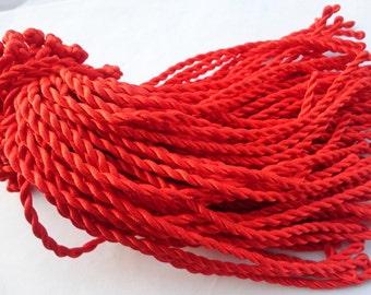 30pcs 7-8inch 3mm red  twist sillk bracelet