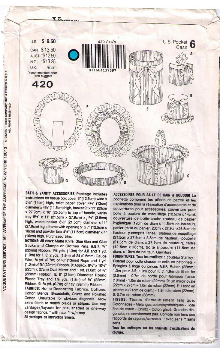 Vogue 420 und Nähen Muster Badezimmer Vanity-Dekor, Tissue Box Cover ...