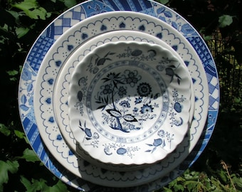 Blue Willow, Blue Onion, Willow ware ,Deeply Layered Plate Flower, Close Out Sale