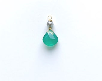 Faceted Green Agate Teardrop and Sage Pearl Charm on 14k Gold