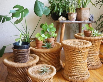 Vintage Woven Jute and Bamboo Rattan Plant Stand / Stool - Multiple Sizes