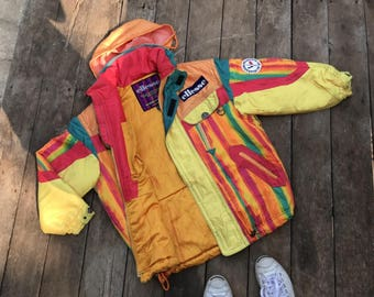 Ellesse Italy, Jacket ski jacket, hidden hood, Colorful Jacket, Multi Color Jacket