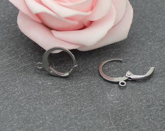 4 supports creole style BO126 stainless steel earrings
