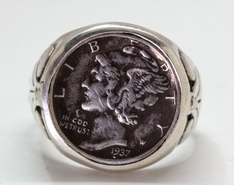 Mercury dime ring,  US coin ring, sterling silver, made by  Blue Bayer Design NYC
