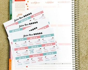 Combined 30 DAY Push-Ups and Sit-Ups Challenge Stickers for Various Planners, Calendars, Journals