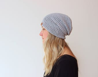 NEW* Silver Grey - ACRYLIC Soft Light Weight Slouchy Beanie