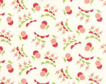Vintage Picnic Fabric -Pin and REd Cherries on Cream from Moda by Bonnie & Camille - 55127 17 - Yardage